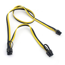 6Pin to 8Pin(6+2) Video Card Power Supply Cable Dual Port Connector 6p to 8p Cable 18AWG Wire Adapter for PC Computer BTC Mining