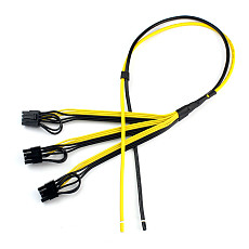 XT-XINTE Power Supply Cable 1 to 3 6P+2P Miner Adapter Cable 8Pin GPU Video Card Wire 12AWG+18AWG 70CM+30CM Cable for BTC Mining