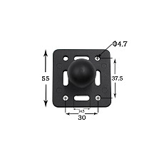 FEICHAO Motorcycle Square Mounting Base Aluminum 1 inch Tripod Ball Head with 2-Holes Butterfly Clip for Gopro Action Camera