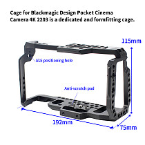 For BMPCC 4K 6K Camera Cage W/ Top Handle Bar Video Film Movie Cage Quick Release Plate For Blackmagic Pocket Cinema BMPCC 4K 6K