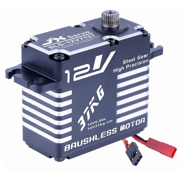 JX Servo BLS-12V7137 12V 37kg High Precision Metal Gear Full CNC Standard Digital Brushless Motor Servo for 1/8 1/10 Scale RC Car Robot Parts