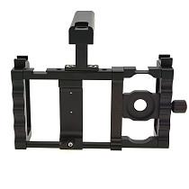 BGNing Aluminium Alloy Dual Hand Handheld Smartphone Video Cage Stabilizer Phone Holder w/ Top Handle Grip Cold Shoe 1/4 Screw