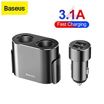 Baseus New Dual USB Car Charger 3.1A Cigarette Lighter Phone Charger Adapter USB Portable