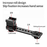 FEICHAO 3 in 1 Triple Cold Shoe Mount Plate Microphone Stand LED Light Vlog Video Expansion Bracket for Zhiyun Gimbal Stabilizer