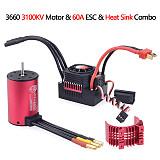 Surpass Hobby New KK Waterproof Combo 3660 2600KV Brushless Motor w/Heat Sink 60A ESC Speed Controller for RC Car