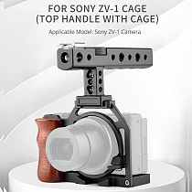 FEICHAO ZV-1 Camera Rig Metal Cage with Cheese Top Handle Grip 1/4 Thread Holes Cold Shoe Mount for Sony ZV-1 Camera Mic Light Extension
