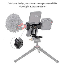 FEICHAO Foldable Tripod Mount Adapter Phone Clipper Holder Vertical Tripod Stand Quick Release Plate for Microphone LED Lights