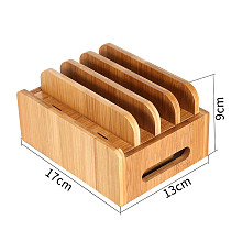 XT-XINTE Bamboo Holder Phone Stand Mobile Phones Cords Charging Station Docks Organizer for Smart Phones and Tablets USB Charger
