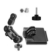 FEICHAO Aluminum Alloy Helmet Fixed Seat Camera Mount Base Holder with Adjustable Extension Arm for Insta360 ONE R/X2/GOPRO9/8/MAX Camera