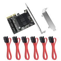 XT-XINTE 6Gbps SATA 3.0 to PCI-E Controller Card 6/10 Ports SATAIII PCIe Expansion Card PCI Express Adapter Converter w Heatsink
