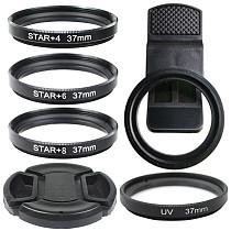 FEICHAO 4x 6x 8x UV Star Line 37MM Camera Lens Filter Set with 37mm Super Wide Angle Macro Mobile Phone Lens Clip + UV Lens