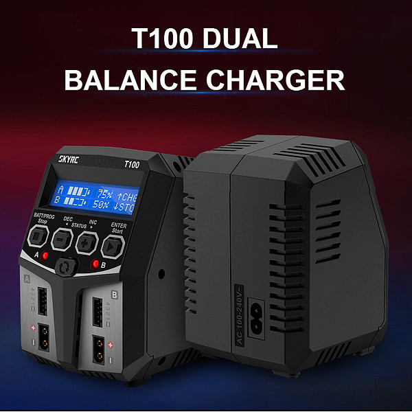 SKYRC T100 Dual-channel Charger 50Wx2 Intelligent Identification with XT60 for 2-4S Battery RC Drone Quadcopter Model Parts