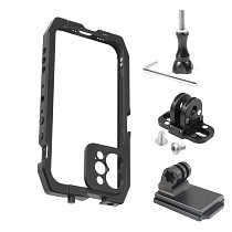 Feichao Smartphone Video Cage Stabilizer Filmmaking Case Rig with Moment Lens Mount for iPhone 12 / 12 Pro Mobile Phone Double Cold Shoe Extension Handheld Tripod Bracket Microphone Light Vlogging Photo Studio Kit
