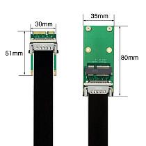 XT-XINTE 30/50/80/100cm MSATA/MiniPCIE Extension Cable Adapter Half Height Full Height Mini PCI Express Riser Card SSD Interface