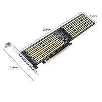 XT-XINTE M.2 To PCIE Riser X16 Adapter Card 4-Disk Interface 32Gbps Expansion Card for NVME M Key/B+M Key 2230/2242/2260/2280/22110 SSD
