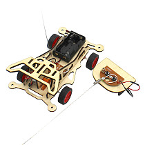 FEICHAO STEAM Toys for Children Educational Science Experiment Technology Toy 2CH DIY Remote Control Electric Wooden Car Model Kids Toys
