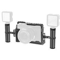 FEICHAO Aluminum Camera Cage for Fuji X-E4 Form-fitting Border Frame w/ Cold Shoe Arri Mount Handgrip Wristband Light Monitor Holder