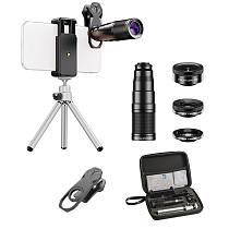 APEXEL HD Phone Camera Lens Kit Telephoto Zoom Monocular Telescope 22X Lens 4in1 Telephoto Macro Wide Angle Fisheye Lens With Tripod
