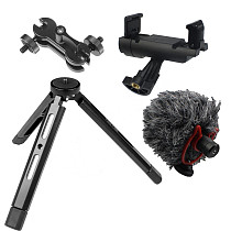 FEICHAO Tripod Selfie Stick Tabletop Camera Stabilizer with Universal Phone Clip Magic Arm Microphone for Filmmaking Live Streaming