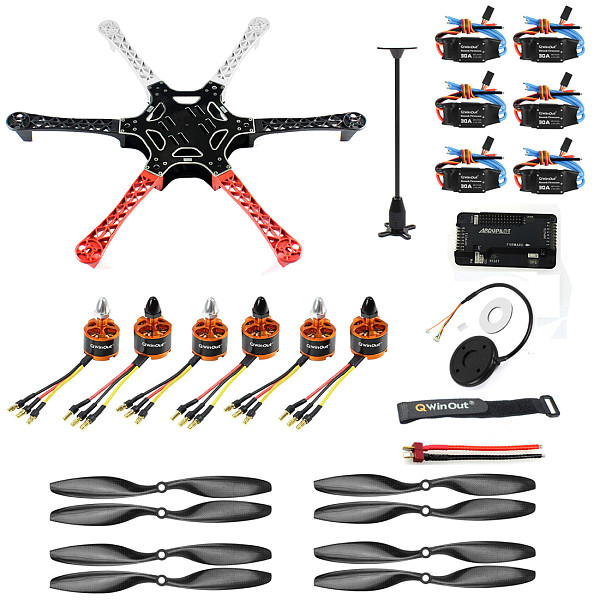 QWinOut F550 550mm RC Hexacopter Unassembled with PIX Flight Controller  920KV Brushless Motor  GPS 30A ESC 1045 Propeller for DIY RC Hexacopter Drone