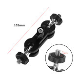 FEICHAO Universal Magic Arm Cylindrical Mobs Hand Bracket 1/4 with Double Ballhead for Cameras External Monitors Photography Light