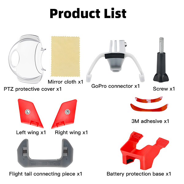 FEICHAO 4in1 Flight Protection Kit for DJI FPV Gimbal Flying Protective Cover GoPro Expansion Connector Adapter Wings Battery Base Mount