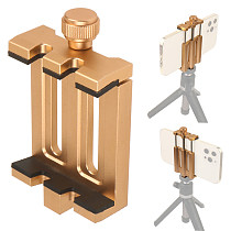 Aluminum Adjustable Lock Phone Holder Horizontal Vertical Clamp 6inch Mobile Clip w/ 1/4 Hole Selfie Stick Tripod Mount Bracket
