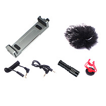 FCLUO XJ15 Desktop Support Frame Live Broadcast Fixing Clip Without Power Microphone for Phone iPad Tablet Camera