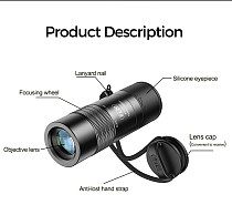FCLUO Mini 6X Zoom Monocular Lens for Phone Closer Focus Telescope with Lanyard for Tourism Camping Bird Watching Photography Props