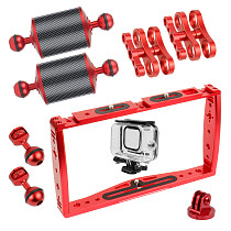 FEICHAO Dual Handle Phone Stabilizer Smartphone Grip Holder Video Cage Film for GoPro 9 8 5 Extension Lights Underwater Case