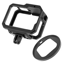FEICHAO Camera Cage Metal Protective Housing with Dual Cold Shoe Mount 52mm UV Lens Filter Adapter for GoPro 9 Action Camera