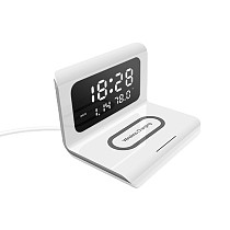 3 In 1 LED Electric Alarm Clock With Phone Charger Wireless Desktop Digital Thermometer Clock HD Mirror Mobile Phone Accessories