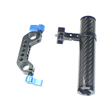 FEICHAO Handle Grip 90° Rotatable 100mm Carbon Fiber with 15mm Rail Dual Rod Clamp for DSLR Camera