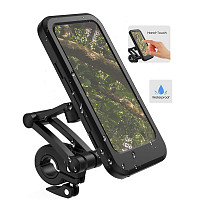 QWINOUT 360° Rotatable Waterproof Bicycle Phone Holder Bike Motorcycle Handlebar Mobile Phone Stand Cell Phone Support Mount Bracket