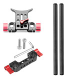 FEICHAO 15mm Rail Dual Rod Clamp Mount with Handle Grip for BMPCC DSLR Camera Rig Cage Baseplate Lens Support Rail Follow Focus System