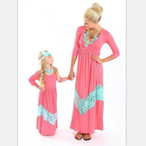 Mother and Daughter Casual Boho Stripe Maxi Dress Family Matching Set Outfits