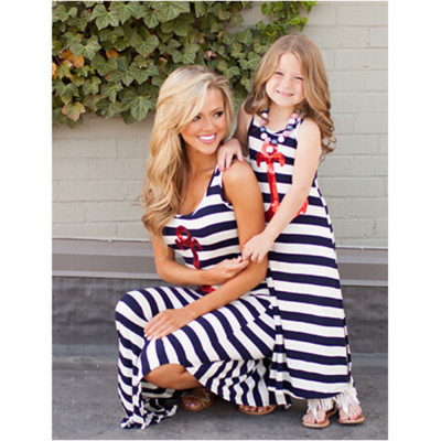 Family Dress Mother and Daughter Matching Womens Girls Long Maxi Dresses