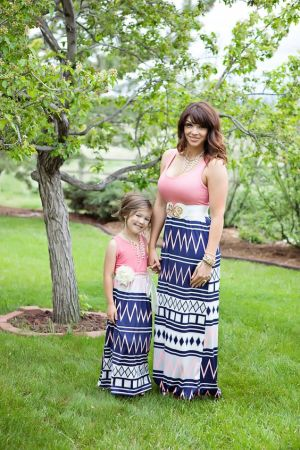 Mother and Daughter Casual Boho Stripe Maxi Dress Mommy&Me Matching Set Outfits*