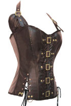 qf901-S-2XL45 steampunk corset 10 plastic bone brown