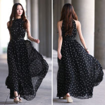 Women Loose Sexy Chiffon Polka Dots Maxi Long Beach Party Evening Dress Black