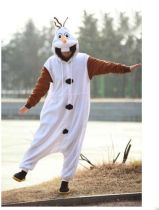 S-010 Olaf Snowman Onesie Animal Kigurumi Pajama Sleepwear Hoodies Fancy Dress Costume