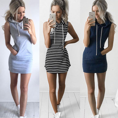 sleeveless dress striped