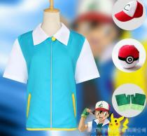 Unisex Pokemon GO Ash Ketchum Trainer Cosplay Costume Jacket Gloves Hat FD33