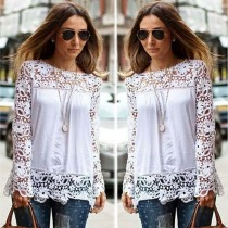 xs-7xl Women Sheer Sleeve Embroidery Lace Crochet Chiffon Shirt