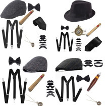 6Pcs/set Men Party Props 1920S Theme Cosplay Stage Performance Gatsby Beret Cigar Watch Suspender Tie Costumes Accessories Set