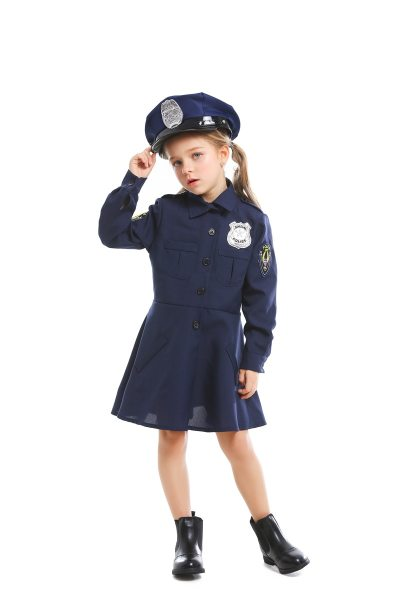 Girls Cute Police Costume Children Cosplay Uniform Halloween Costume For Kids Carnival Party Suit With Hat