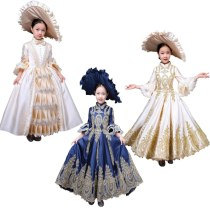 Kid Child girl champagne Bow Dance 18th Century Queen Victorian Marie Antoinette dress with hat