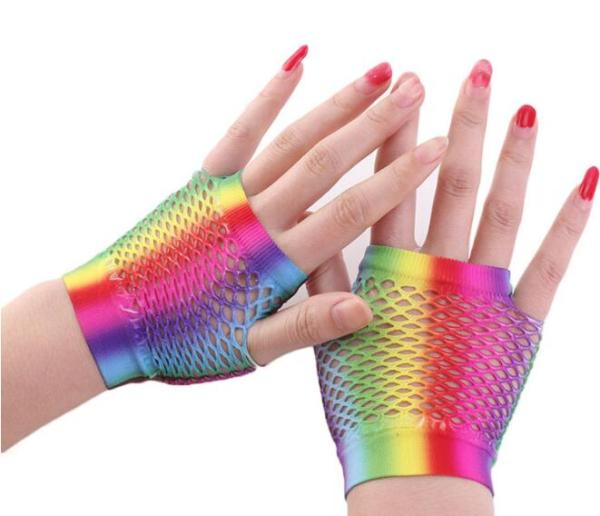 G2020006  short colorful rainbow lace gloves