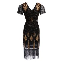 Robe Femme Roaring 1920s Flapper Dress Gatsby Party Charleston Sequined Cocktail Weeding Beaded Tassel Dresses Banquet Dresses