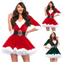 Miss Santa Claus Outfits Women Christmas Dresses Adult Costume Half Sleeve Modis Ladies Fancy Dress Xmas Winter Red Vestidos